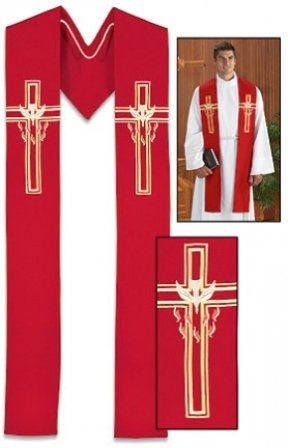 Seasonal Priest/Clergy Stoles (Descending Dove Red Stole) -