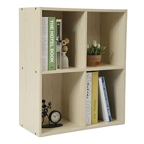 Homebi Bookshelf DIY Bookcase Wood Storage Cabinet Freestanding Organizer Display Shelving Unit for Bedroom,Living Room,Study Room and Office (White Oak 4-Cube)