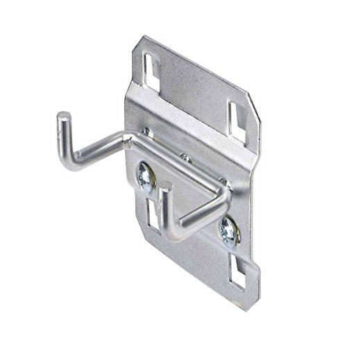 Triton Products 52119 LocHook 1 -Inch Double Rod 90-Degree Bend 3/16-Inch Diameter Zinc Plated Steel Pegboard Hook for LocBoard, ()