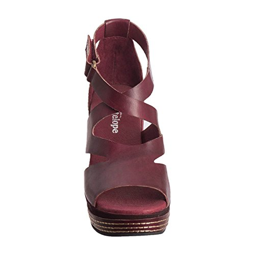 Antilope Dames 648 Lederen Hi-cut Band Wedge Bordeaux