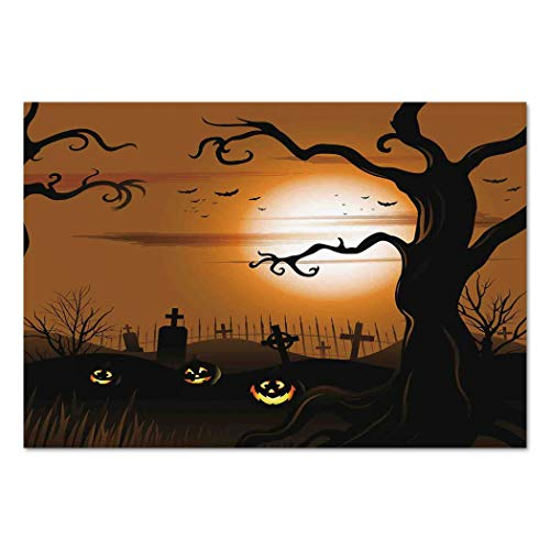 (Large Wall Mural Sticker [ Halloween Decorations,Leafless Creepy Tree with Twiggy Branches at Night in Cemetery Graphic,Brown Tan ] Self-adhesive Vinyl Wallpaper / Removable Modern Decorating Wall)