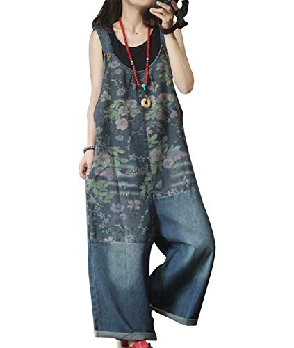 YESNO Women Casual Loose Denim Jumpsuits Bf Wide Leg Jeans Overalls Floral Patch Stitched/Pockets PFU (XL, PFU As -