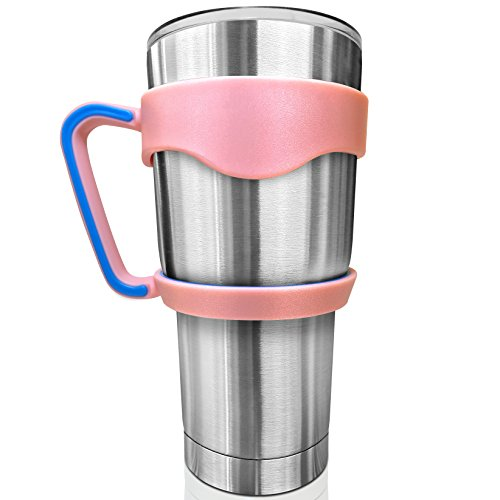 SkyyHi Color Handle for 30 oz Yeti Rambler Rtic Tumbler Ozark Trail Cup - Blue or Pink Color Options. Strong Grip Handle for Stainless Steel Mugs (30oz, Pink, Handle Only)