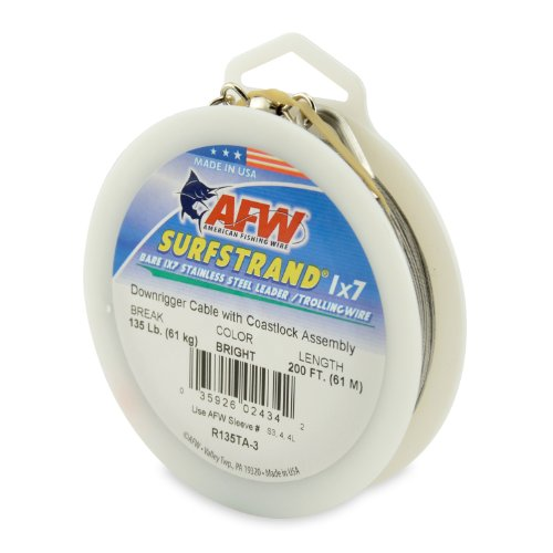 American Fishing Wire Surfstrand 1x7 Stainless Steel Downrigger Wire (Coastlock Assembly), 135 Pound Test, Bright Color, 200-Feet