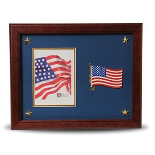 7' Shadow Box Picture Frame - American Flag Medallion 5 by 7 Picture Frame with Stars Mahogany Colored Frame Molding