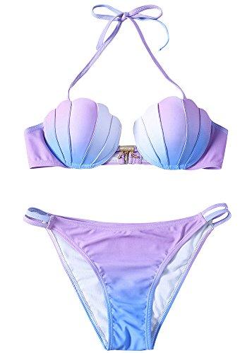 (Pxmoda Women's Gradient Color Seashell Bikini Set Padded Mermaid Swimsuit (S, Purple-1))
