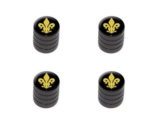 Graphics and More Fleur de Lis - Gold on Black Tire Rim Wheel Aluminum Valve Stem Caps - Black Color