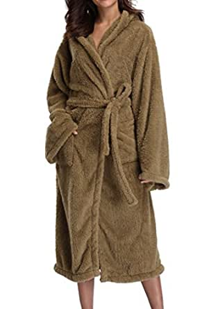 1stmall 1 STMALL Women's Fleece Robe,Soft Velvet, Long Hooded Bathrobe Dark Coffee, S