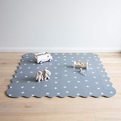 Baby Playmat with Fence by Oliver Lola Designer Crisscross Series . 16 Interlocking Foam Floor Tiles Made of Baby-Safe Non-Toxic EVA. Crawling Mat for Nursery and Playpen.