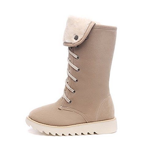 Low Solid Beige Round Frosted Lace Womens up AmoonyFashion Heels Closed Toe Boots 7fx5Anq