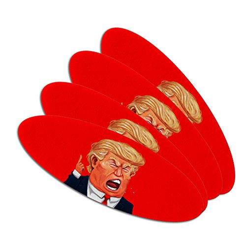 Political Emery Boards - Angry Donald Trump Face Double-Sided Oval Nail File Emery Board Set 4 Pack