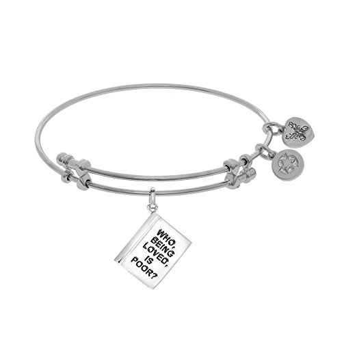 JewelryWeb Brass with White Finish Adjustable Who Being Loved is Poor? Angelica Bangle Bracelet
