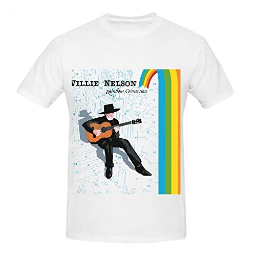 Willie Nelson Rainbow Connection Mens Crew Neck T Shirts Cool White