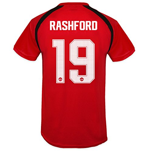 Fc Training Kit (Manchester United FC Boys Rashford 19 Poly Training Kit T-Shirt Red 8-9 Yrs)