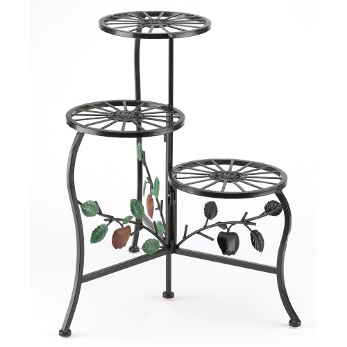 Gifts & Decor Country Apple Plant Stand Shelf Holds 3-Flower Pot (Corner Iron Plant Stand)