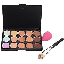 Women's 15 Colors Concealer Palette Contouring Foundation Makeup With Sponge Puff Brush