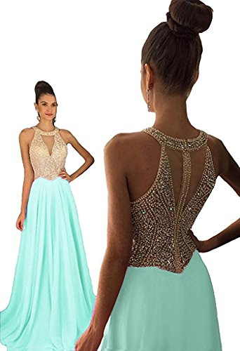 Chiffon Beaded Long Halter Gown - 4