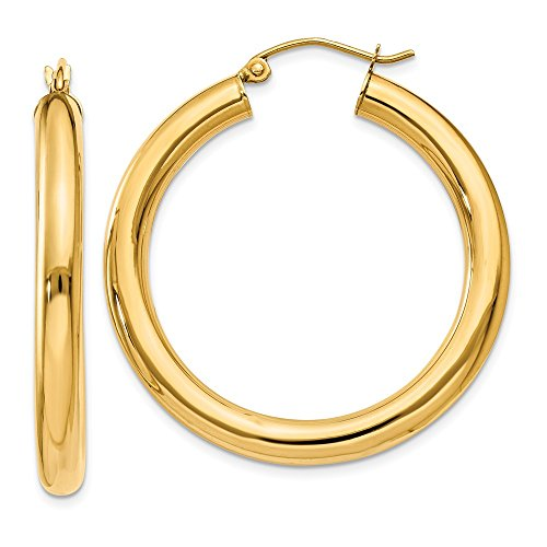 14k Yellow Gold 4mm Lightweight Tube Hoop Earrings Ear Hoops Set Round Classic Fine Jewelry Gifts For Women For Her ()