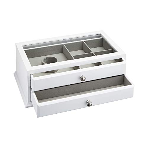 AmazonBasics Wooden Jewelry/Watch Box with Glass Top - 2-Drawer, White