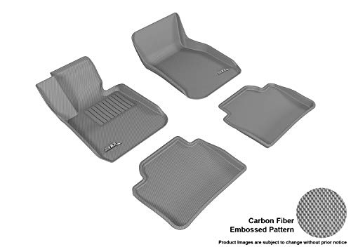 3D MAXpider Complete Set Custom Fit All-Weather Floor Mat for Select BMW 3 Series Sedan (F30) Models - Kagu Rubber (Gray)