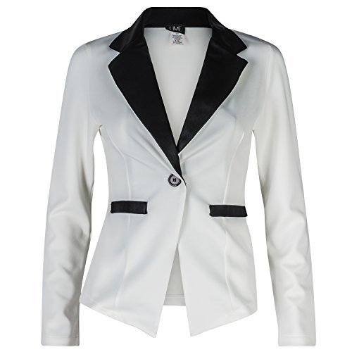 Contenta Women's Tuxedo Blazer. Dressy Long Sleeve PU Contrast Lapel Jacket. (Large, White/Black) Black & White Blazer