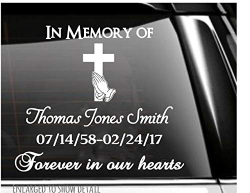 Praying Hands and Cross In Memory of Memorial Decal
