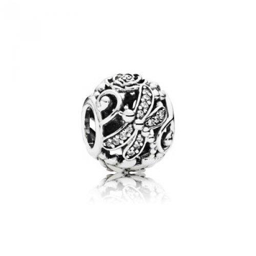 Pandora Bead shape, silver 791733CZ Female Country Dragonflies