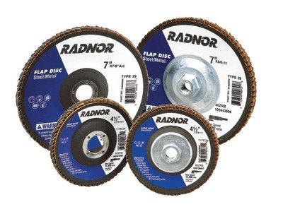 Radnor 64000902 4'' X 5/8'' 40 Grit Zirconia Alumina Type 27 High Density/Jumbo Flap Disc (100 PER CASE) by Radnor