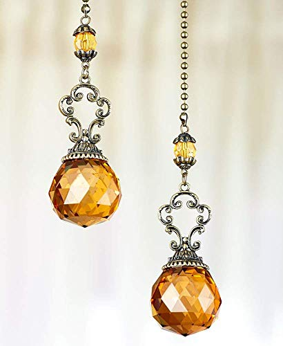 Sets of 2 Vintage Jeweled Fan Pulls - Decorative Crystal Pull Chains for Ceiling Fans and Lights Ornament - Amber by HM Homes (Image #1)