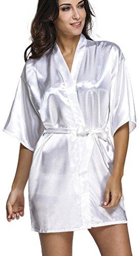 FLYCHEN Womens Short Pure Colour Robe Wedding Bridesmaid Lounge Kimono Satin Bathrobe