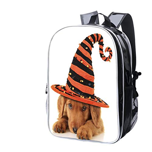 High-end Custom Laptop Backpack-Leisure Travel Backpack A Cute Halloween Puppy On a White Background Water Resistant-Anti Theft - Durable -Ultralight- Classic-School-Black ()