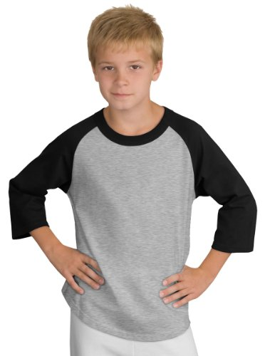 Sport-Tek Youth Colorblock Raglan Jersey, Heather Grey/Black, S ()