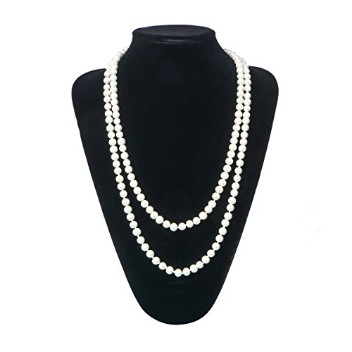 Zhisheng You Vintage Gatsby Faux Pearls Beads Cluster 1920s Long Necklace 59