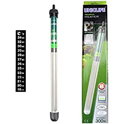 Uniclife HT-2300 Submersible Aquarium Heater 300W with Thermometer and Suction Cup, 80 Gallon