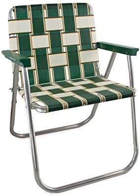 Amazon Com Lawn Chair Usa Aluminum Webbed Chair Picnic Chair Charleston With Green Arms Kitchen Dining