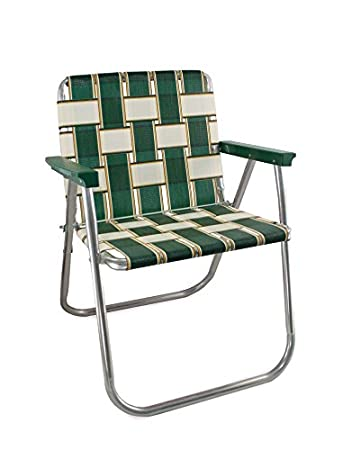 High Quality Lawn Chair USA Aluminum Webbed Chair (Picnic Chair, Charleston With Green  Arms)