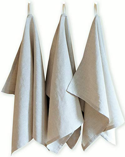 Kitchen Towels | Set of 3 | Premium Quality Belgian/French Linen Fabric | 30 x 20 inches | Natural Oatmeal Color