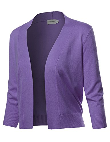 Awesome21 Solid Soft Stretch 3/4 Sleeve Layer Bolero Cardigan Violet Size L