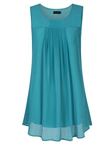 Pleats Silk Tunic - GloryStar Women's Sleeveless Chiffon Blouse Elegant Flowy Layering Tank Tops Tunic Blue M