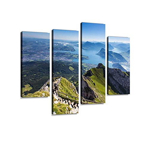 Swiss Alps View from Mount Pilatus, Lucerne Switzerland Canvas Wall Art Hanging Paintings Modern Artwork Abstract Picture Prints Home Decoration Gift Unique Designed Framed 4 Panel - Lucerne Small Wall