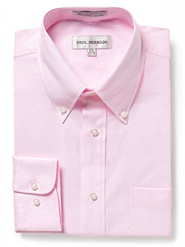 Paul Bernado Men's Long Sleeve Oxford Shirt Pink 15.5 4/5