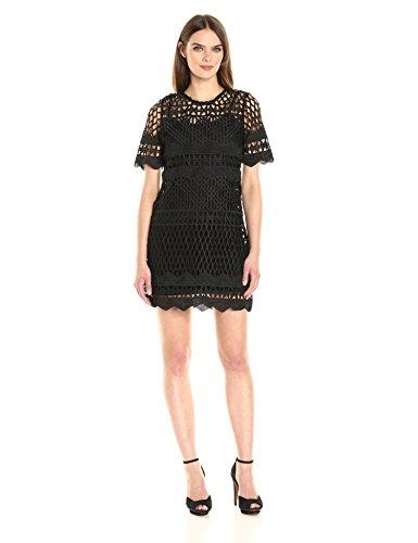 KENDALL + KYLIE Women's Crochet a-Line Dress, Black, S