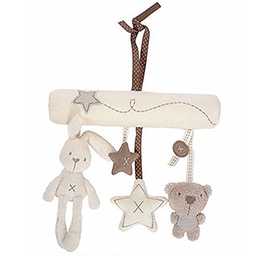TOYMYTOY Stroller Hanger Toys Newborn Bed Crib Cot Pram Hanging Toys Bunny Star Bear Pendant Crib Toy (Creamy-White)