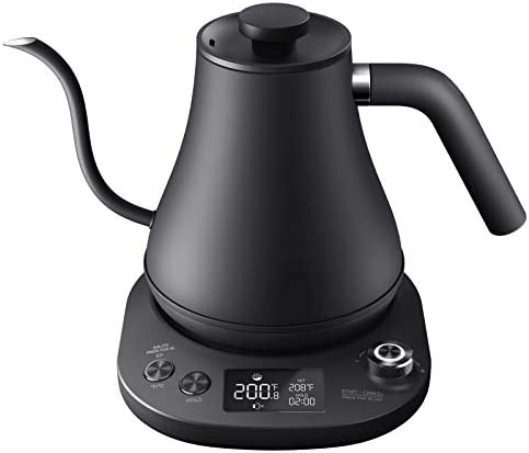 Aicook Electric Gooseneck Kettle Temperature Control, Pour Over Kettle for Coffee and Tea, 100% Stainless Steel Inner Lid and Bottom, 1200W Rapid Heating, 0.8L, Matte Black