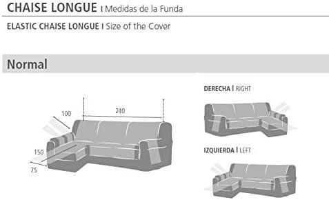 Eysa Fundas de Sofa Pr/ácticas Tres Plazas Derecha Vista Frontal Beige Chaise Longue 240 cm Tela
