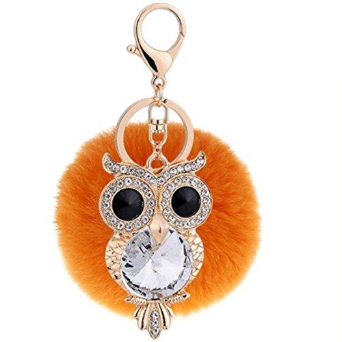 1 Pc Mini Pocket Crystal Rhinestone Owl Orange Fur Keychain Keyring Keyfob Little Bird Rabbit Fluffy Pompom Ball Pendant Key Chains Strap Deluxe Popular Cute Wristlet Utility Keychains Tool, Type-02