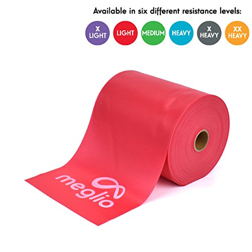 (Meglio Latex Free Resistance Band 25 & 50 Yard Roll - Elastic Bands Latex Free for Physical Therapy, Strength Training, Pilates, Yoga, Home Workouts & Rehabilitation)