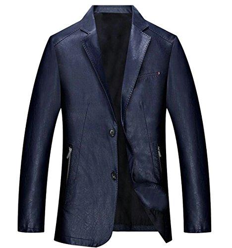 Mens 2 Button Leather Blazer - 5