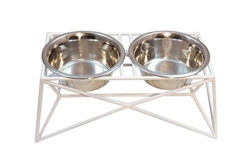 Martin Deutschman Wire Dog Bowl Feeders, White by B & G Martin