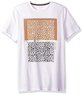Calvin Klein Men's Short Sleeve Solid Mix Media Graphic Crew Neck T-Shirt